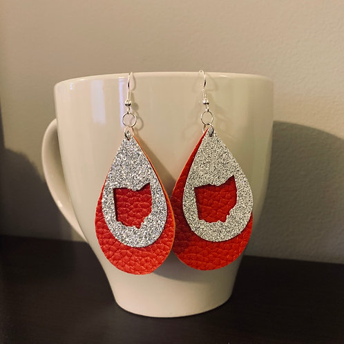 Ohio State Faux Leather Earrings
