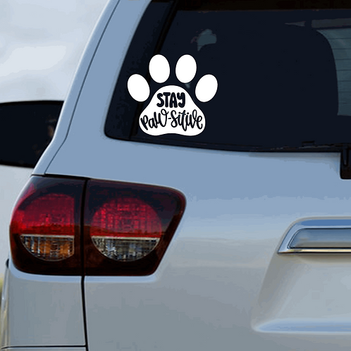 Stay Pawsitive Car Decal