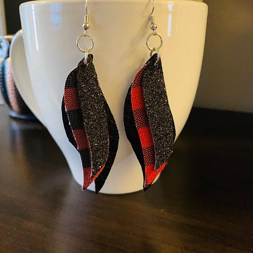 Red Buffalo Check Layered Earrings