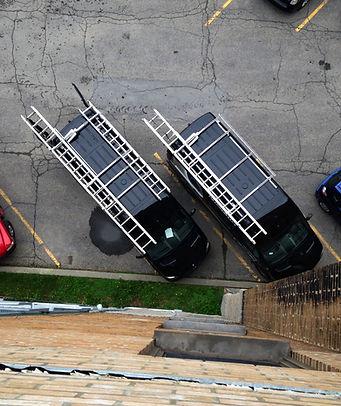 Nos camions, vu de haut