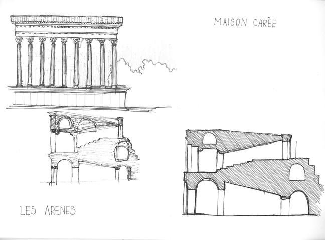 Nîmes- Les Arenes and Maison Carrée