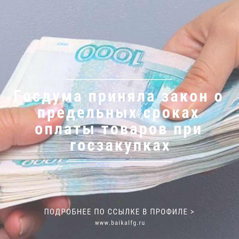 Госдума приняла закон о предельных сроках оплаты товаров при госзакупках