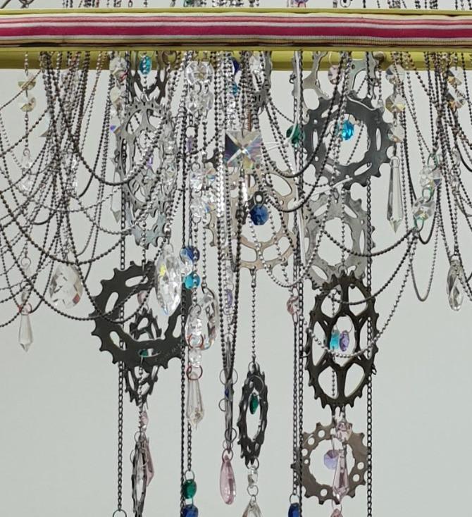 Ribbon bike wheel chandelier