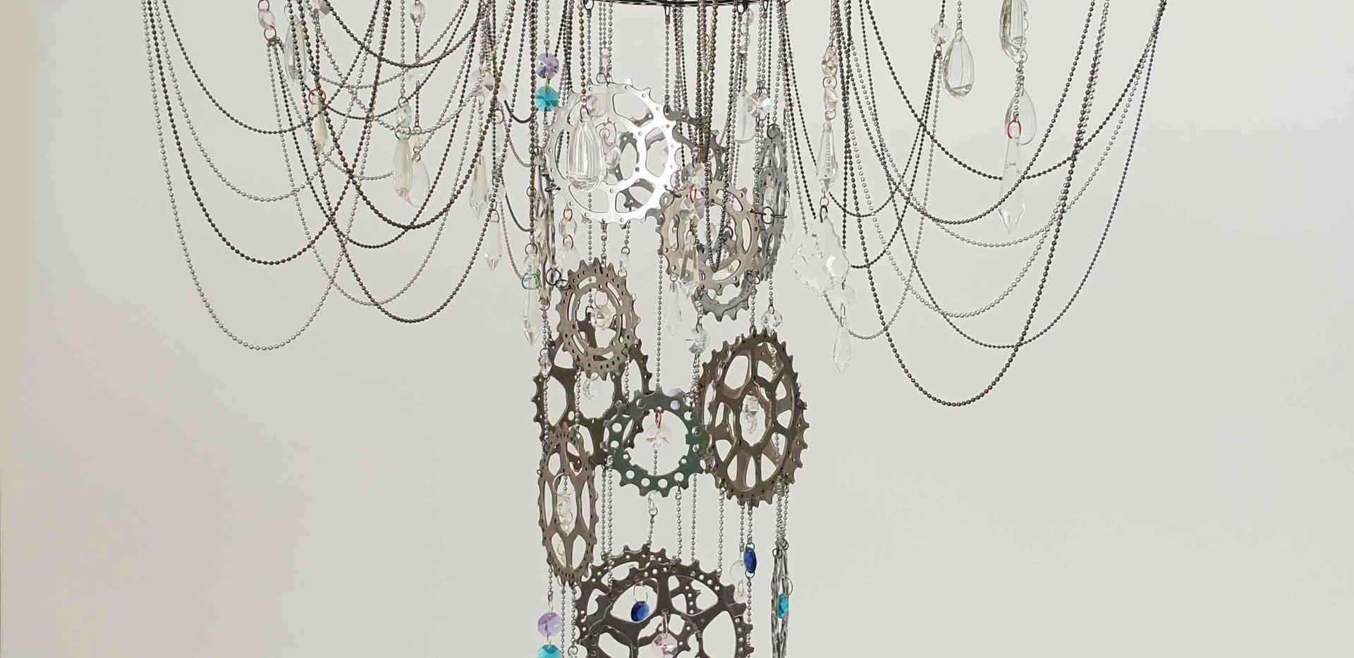 Flat bike wheel chandelier