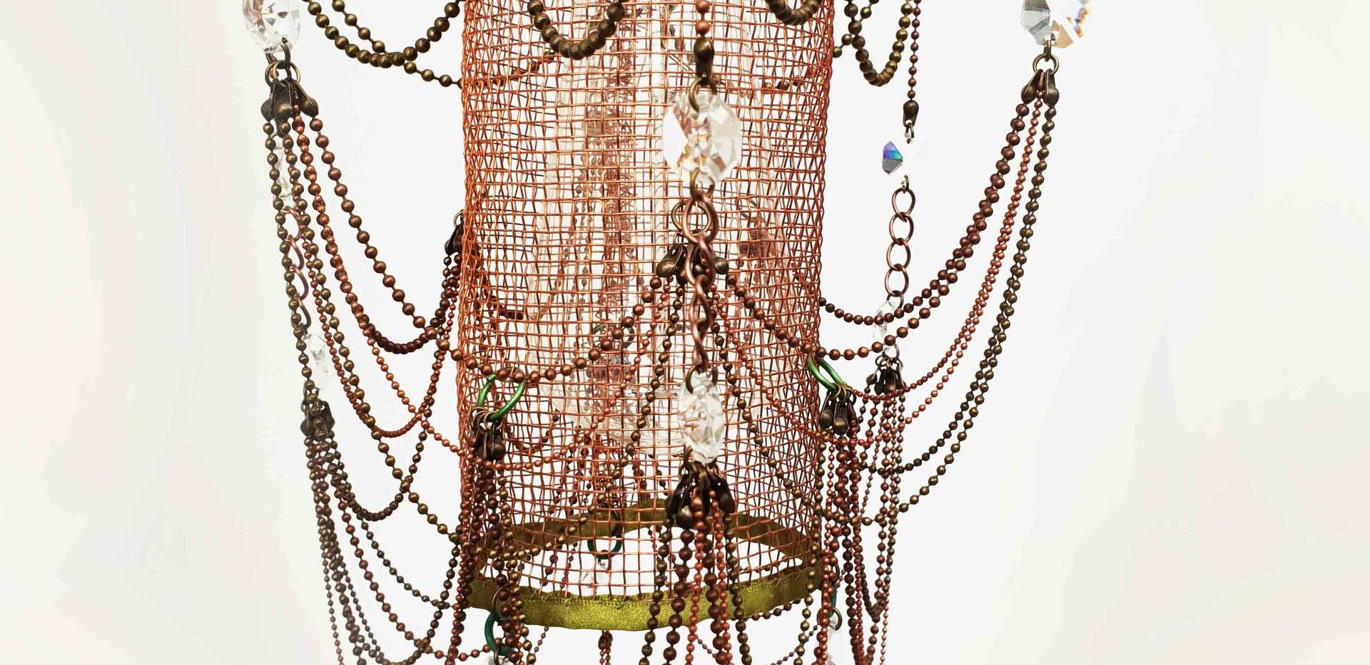 Tall Copper mesh baby chandelier.