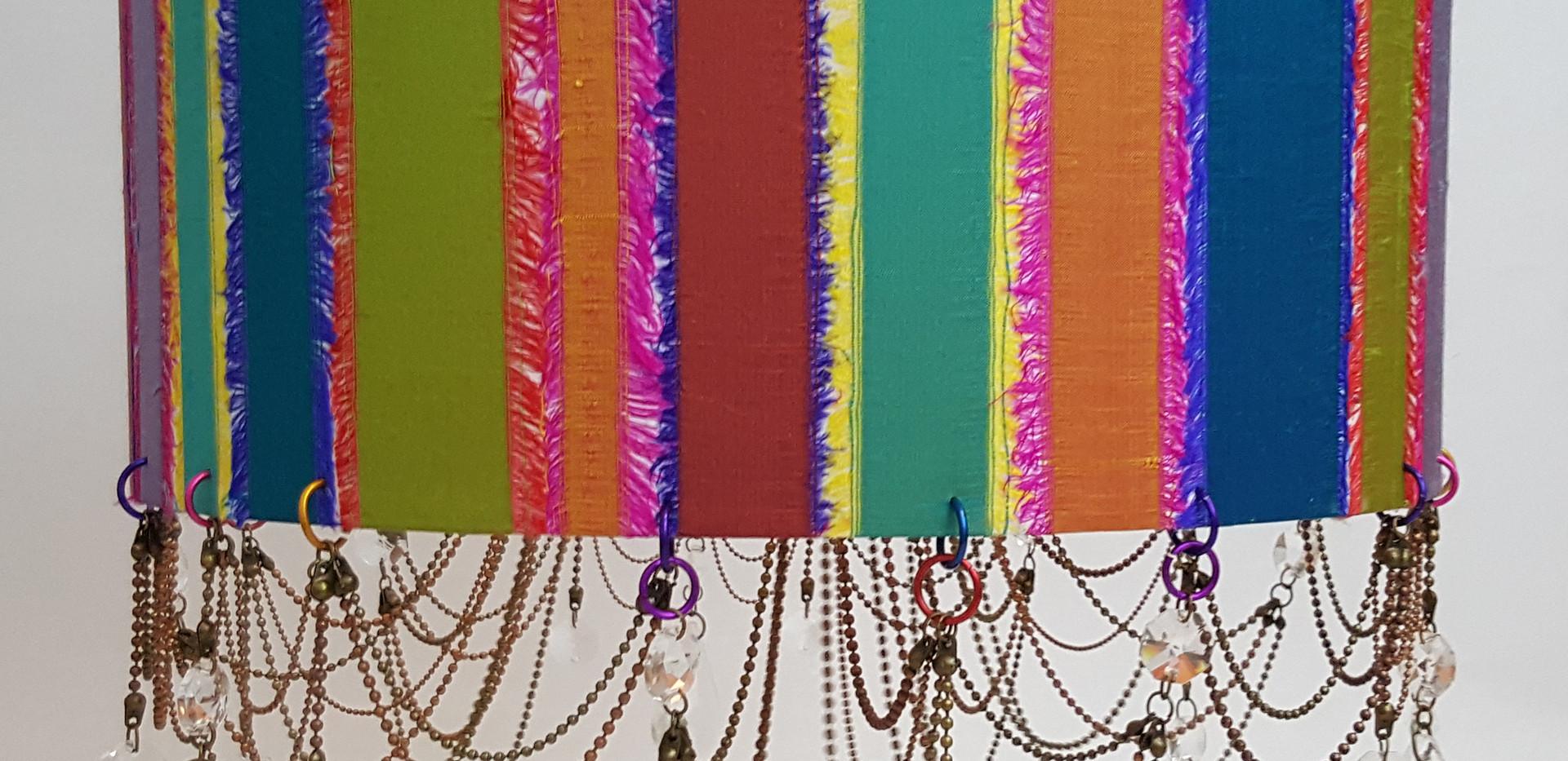 Frayed silk drum lampshade chandelier