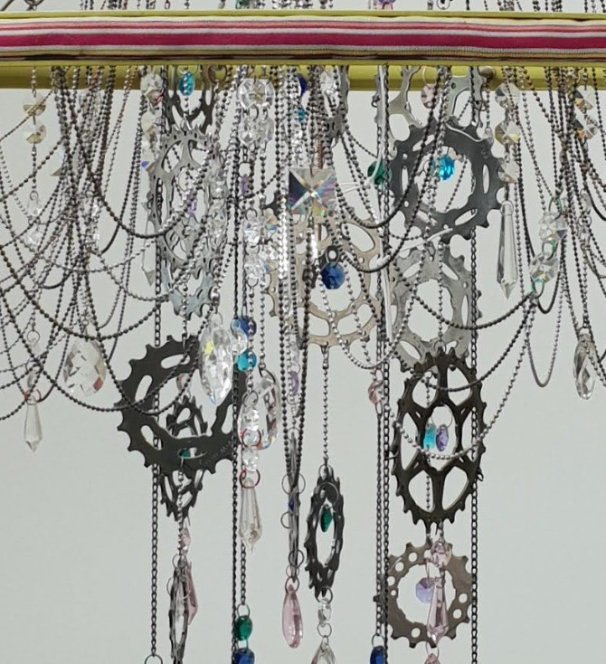Re Cycled bicycle wheel chandelier