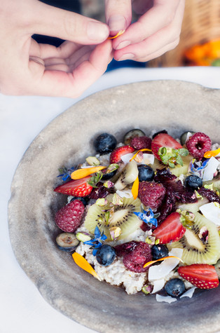Quinoa and Coconut Porridge with Seasonal Fruits