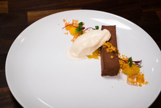 Chocolate Aero Mousse, Honey Ice Cream, Whiskey Jelly
