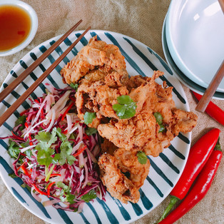 Fried Five-Spice Quail with Asian Slaw