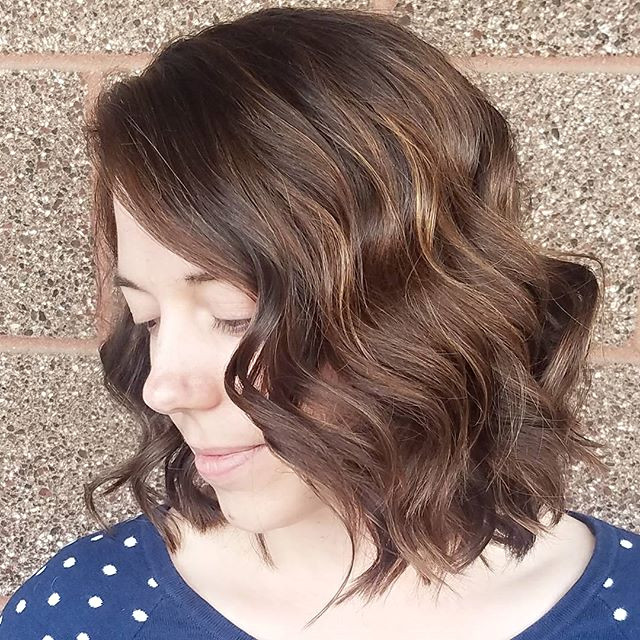 Carmel mocha love ❤ 7 inches off, and shes rocking this lob.  Used _joico freeplay and toned using _ruskhaircare deep shine._._.jpg