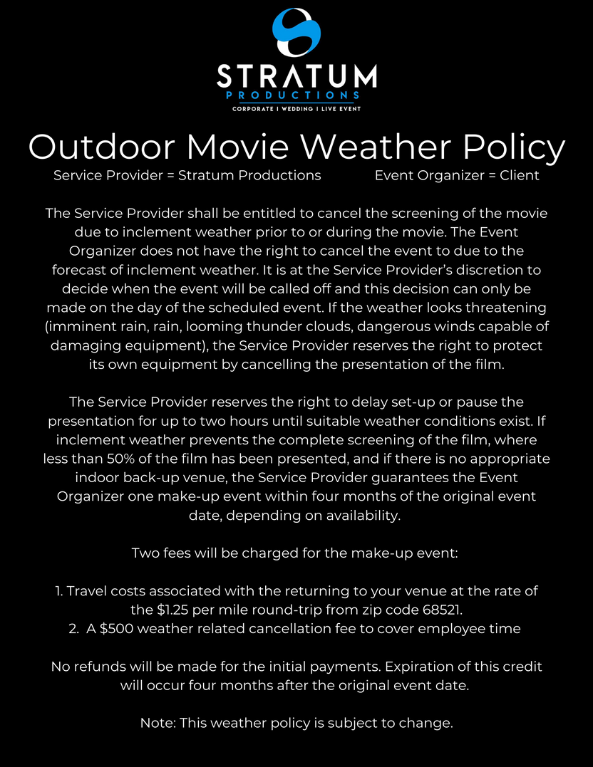 Outdoor Movie Weather Policy