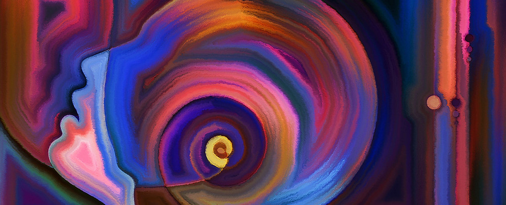 Swirling colors depicting the brain