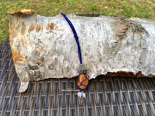 Blu con Avventurina arancione e charm elefante