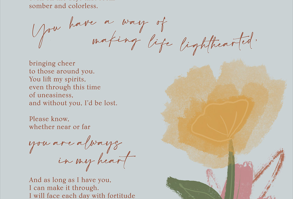 To a Brave Mother Poetry Print