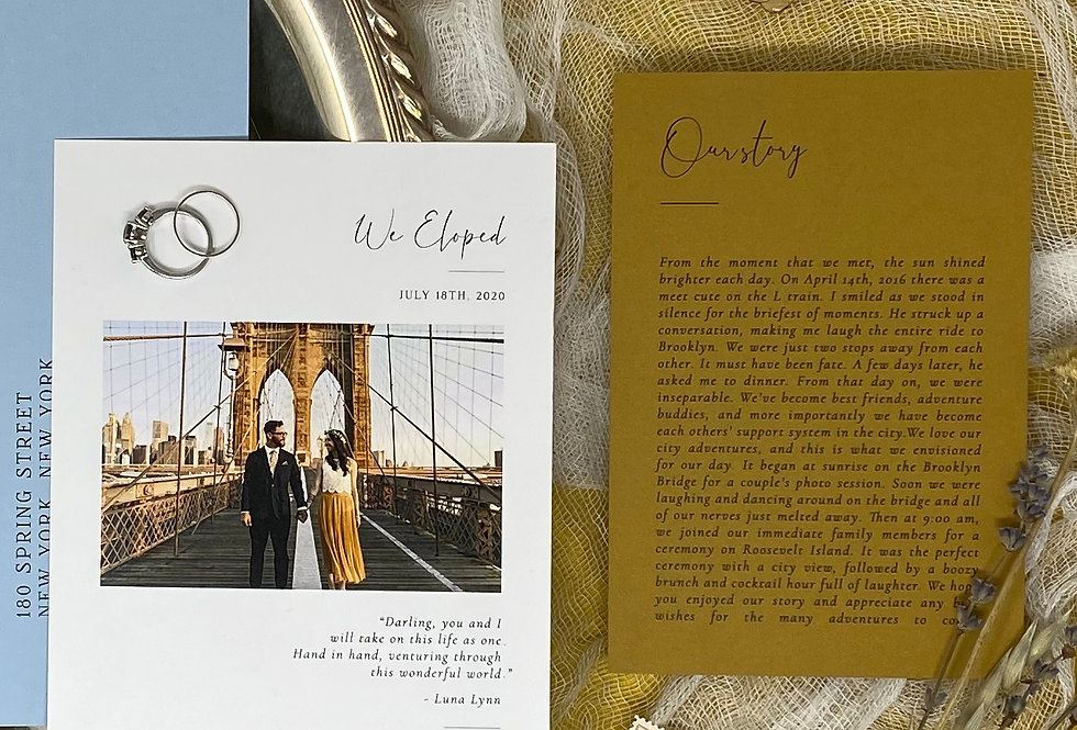 Modern Fairytale Elopement Announcement + Story Card Package