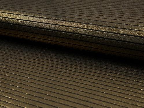 Tissu à rayures noir et doré X10cm