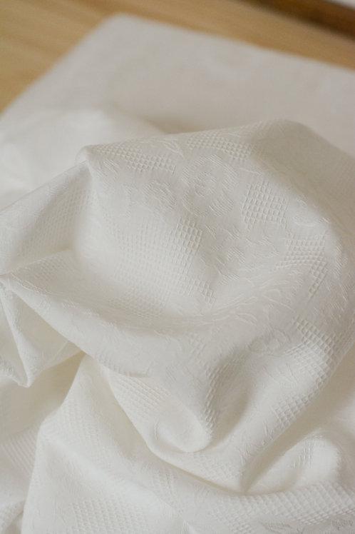 Jacquard coton blanc cassé X10cm