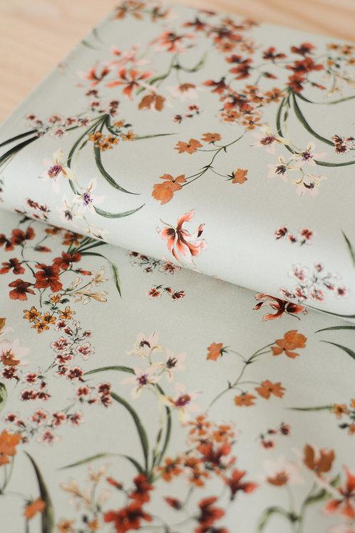 Coton stretch Fleurs vert d'eau X10cm