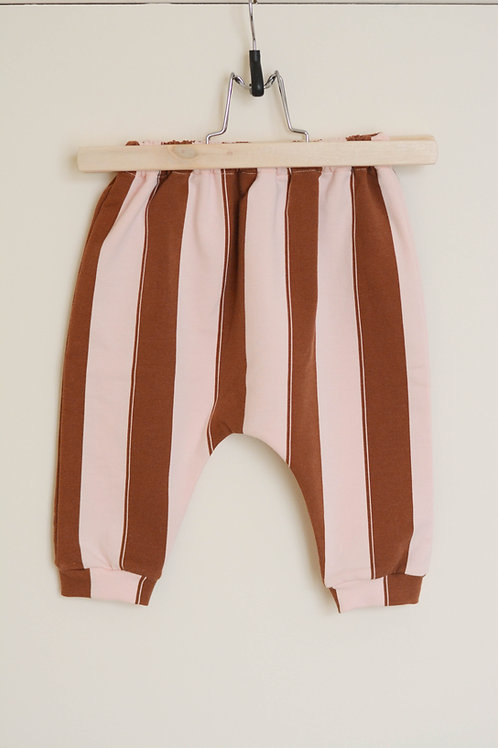 Pantalon bébé rayures rose&marron