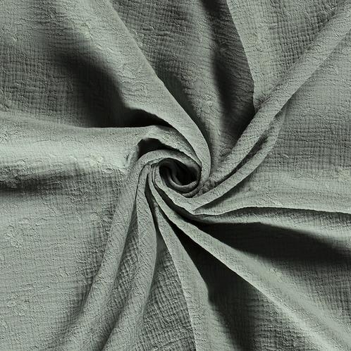 Double gaze de coton brodée_Eucalyptus X10cm