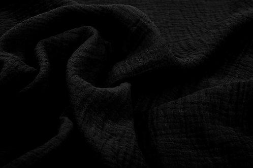 Double gaze de coton noir X10cm