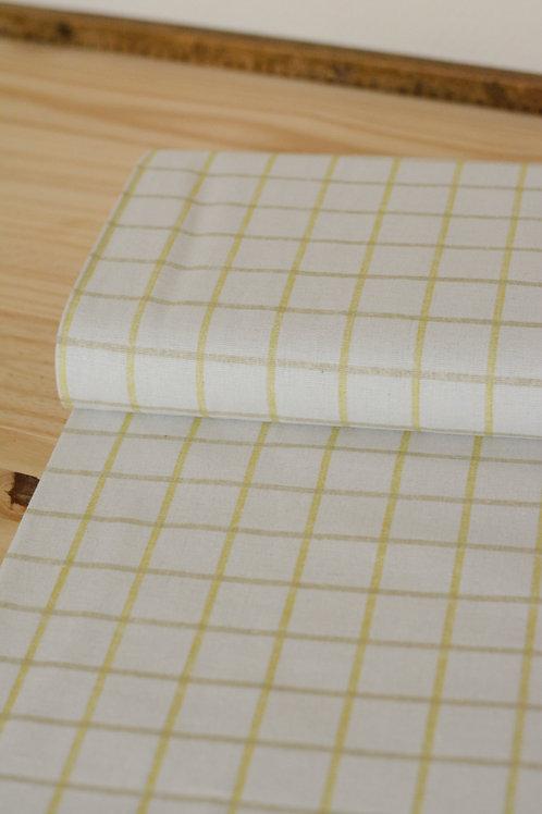 Canevas coton quadrillage jaune X10cm
