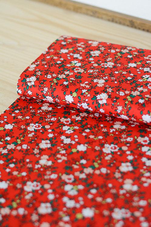 Popeline de coton_Fleurs rouge X10cm