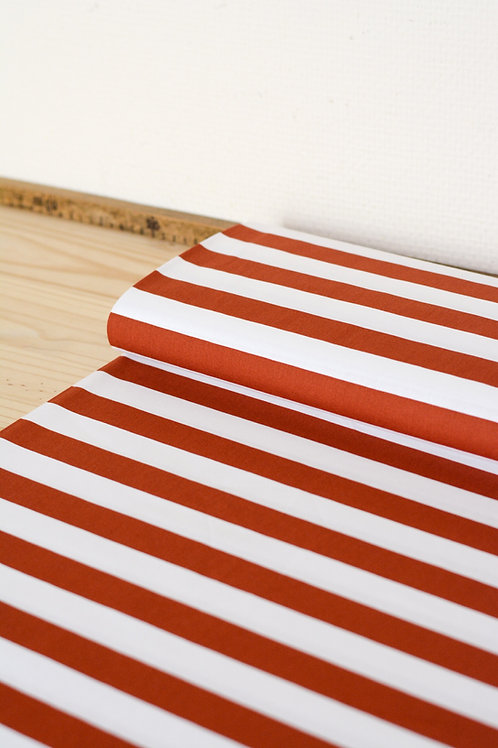 Popeline de coton rayée_Terra X10cm