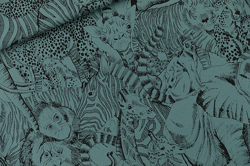 French Terry See you at six_Wild Animals_Bleu Atlantique X10cm