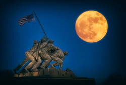 Marine Corp Memorial at Blue Hour w moon Flat A