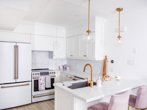 AC Interiors pink white and gold kitchen