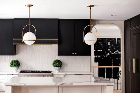 black and white kitchen gold accents interior design ac interiors