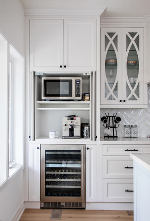 Appliance garage with pocket doors white kitchen glass cabinets shaker style ac interiors design