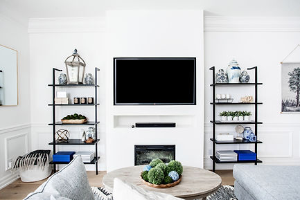 Open metal shelves with TV Fireplace Bui