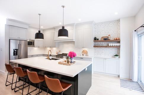 Green Kitchen Island, Light Gray Cabinet