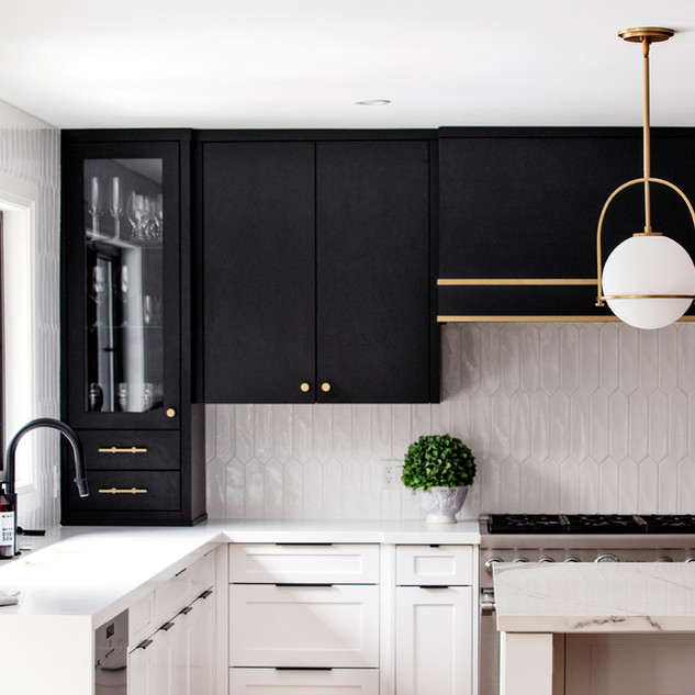 Transitional black, white, gold kitchen