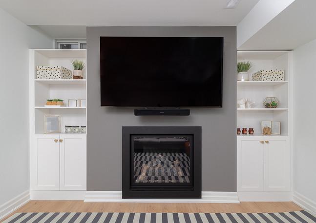 basement renovation TV built ins