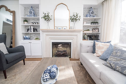 Transitional Living Room Fireplace