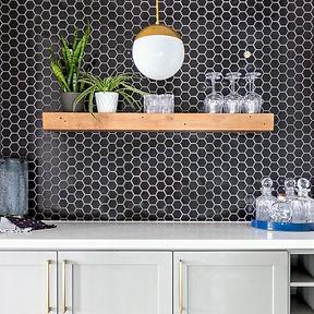Black hexagon tile backsplash, floating wooden shelf, home bar, white quartz with black backsplash, ac interiors design and build, toronto interior designer