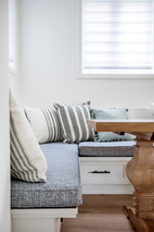 kitchen banquette ticking stripe pillows ac interiors design