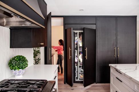 Hidden Pantry Kitchen Design Black Modern Kitchen