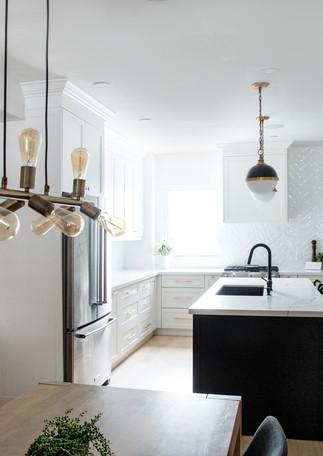 Black and White kitchen light oak floors