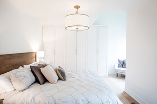 Master bedroom chandlier built in closet system