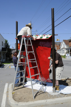 Lifting Sculpture into Place