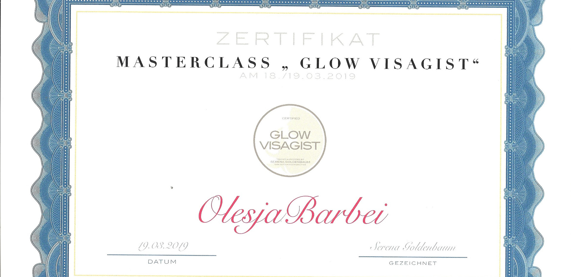 Zertifikat von Serena Goldenbaum