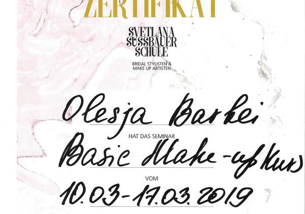 Zertifikat von Svetlana Süssbauer