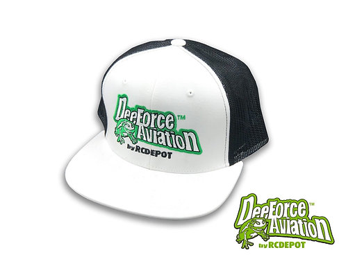Dee Force Aviation Snapback Cap FLAT BILL Black/White