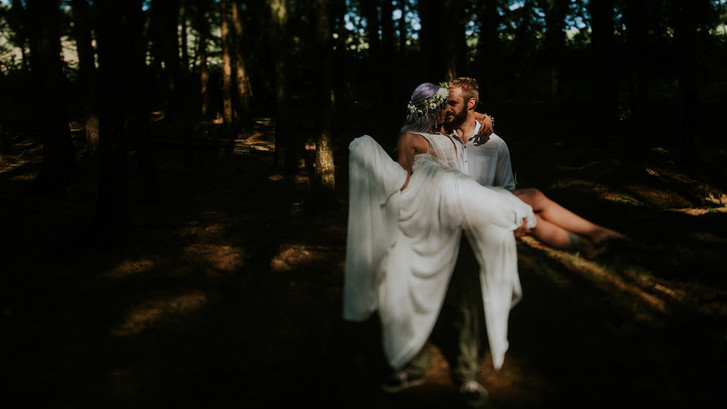 Fairytale intimate wedding in the trees at Underpine woods