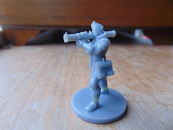 D&D Miniature Elf Male Artificer aiming Shoulder Cannon